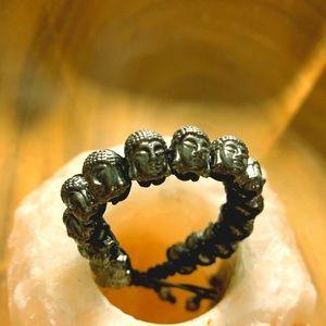 Buddha Head Cast Bead Adjustable Bracelet